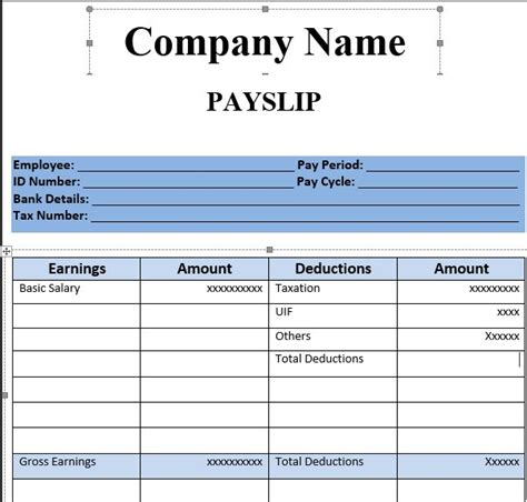 simple company pay slip template   blue color