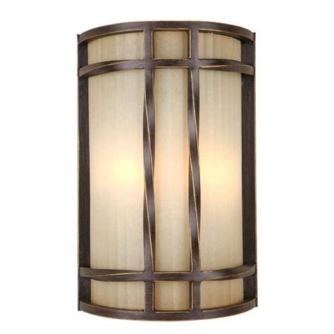 wall sconce lighting shop portfolio 8 in w 2 light antique bronze pocket wall