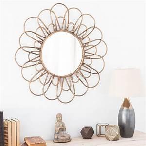 Miroir Doré Rond : miroir rond en m tal dor d 75 cm jangala maisons du monde ~ Teatrodelosmanantiales.com Idées de Décoration