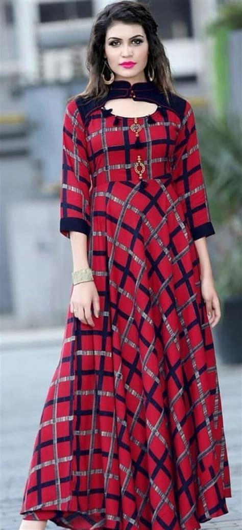 designer long frock style kurtis  women  kurti