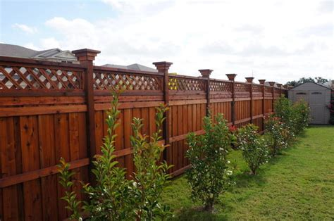 arts crafts landscape  killeen red stained fence