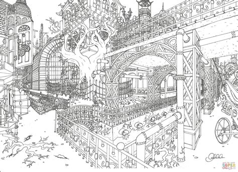 steampunk city coloring page  printable coloring pages