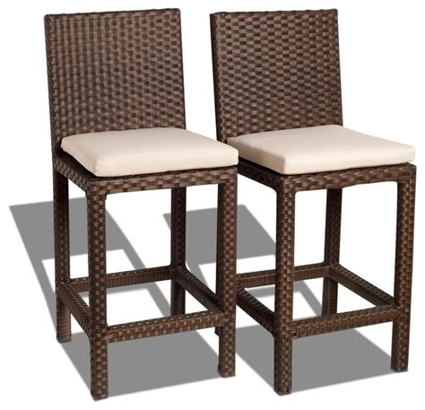 barstool and patio gallery monza 2 wicker patio barstool set with white