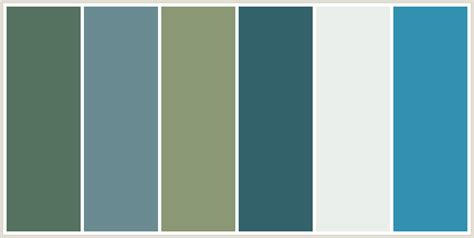 what colour scheme goes with grey colorcombo234 with hex colors 557260 6a8b92 8a9875 34626b eaeeea 3291b1