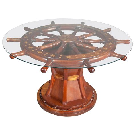 small nautical table ls round glass top coffee table with nautical ship wheels