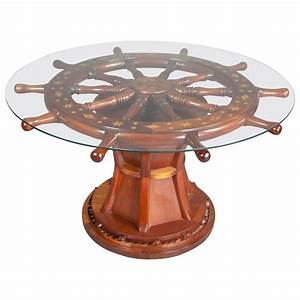 Nautical ships wheel coffee table at 1stdibs for Themed coffee tables