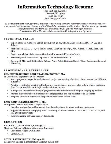 Professional Sle Resume by It Professional Resume Sles Top Form Templates Free