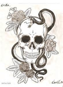 Snake and Skull with Roses