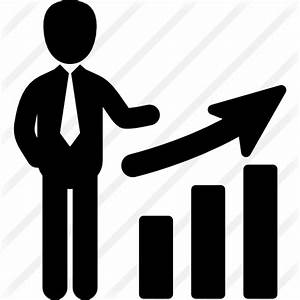 Business man and a bar chart - Free business icons