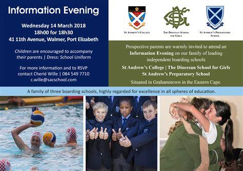 information evening port elizabeth march st andrews college