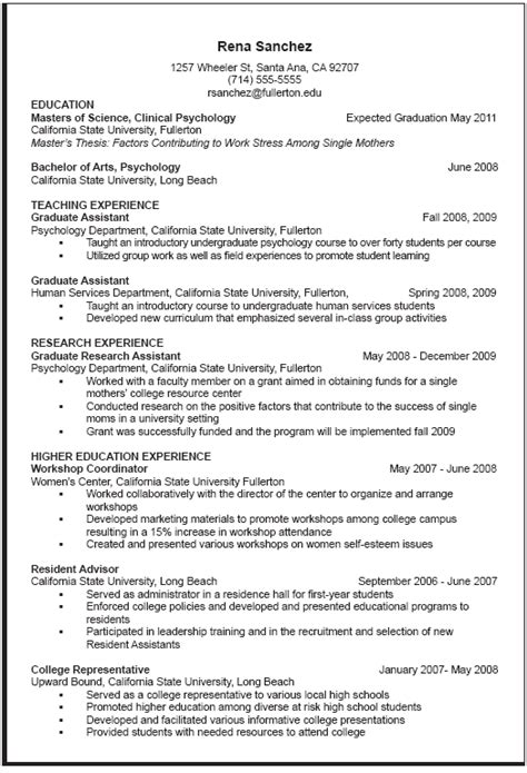curriculum vitae resume exle career center curriculum vitae sle