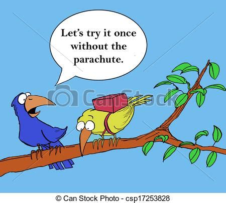 Clip Art of Without the parachute - A mentor bird is ...