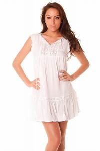 magnifique robe d39ete blanche broderies et pompons With robe pas cher ete