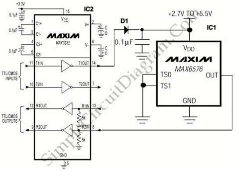 Powered Temperature Sensor Simple Circuit Diagram