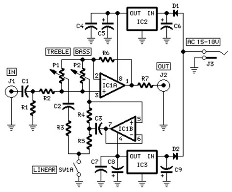 Modular Preamplifier Tone Control Circuit Schematic