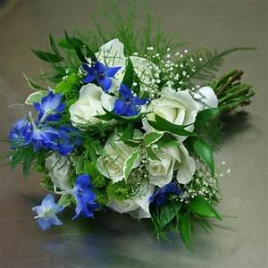 Bridal Bouquet in Blue White and Lime Green - W Flowers Ottawa