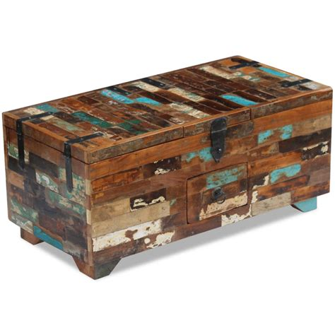 A statement piece of furniture for traditional and rustic living spaces, this coffee table has the look of a vintage chest made from planks of wood. vidaXL Solid Recycled Wood Coffee Table Blanket Box ...