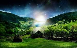 Peaceful Village Night Stars wallpapers | Peaceful Village ...