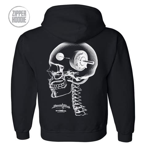 barbell skull hoodie zipper heavy think ironville bodybuilding strong lift hard weightlifting die