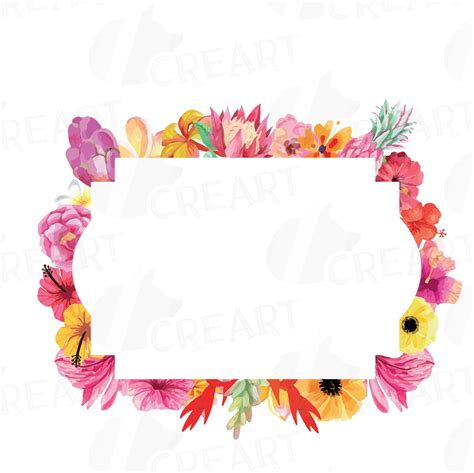 Floral Border Clip Floral Frames Watercolor Clip Collection Borders