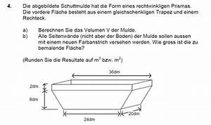 Ableitungen Berechnen : geometrie mulde trapez volumen und fl cheinhalt berechnen mathelounge ~ Themetempest.com Abrechnung