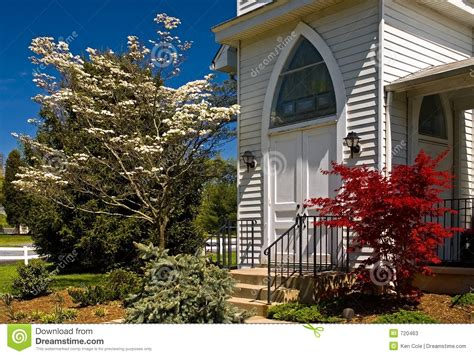country church doorway spring stock  image