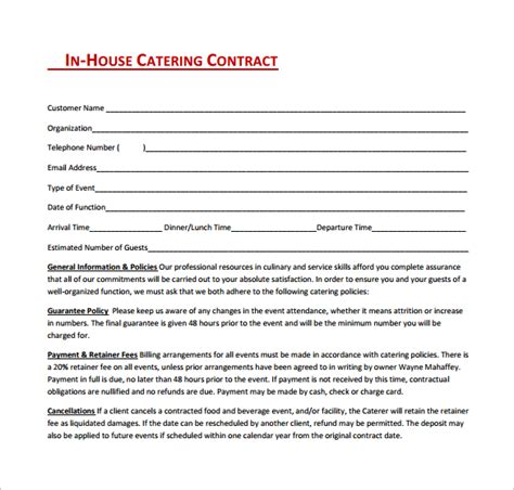 catering contract template 15 sle catering contract templates pdf word apple pages sle templates