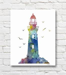 Lighthouse Watercolor Art Print Abstract Painting Wall