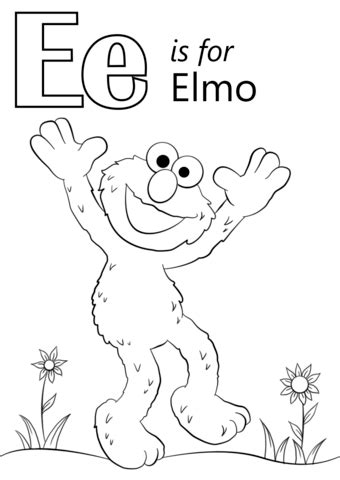 color starts with e letter e is for elmo coloring page free printable