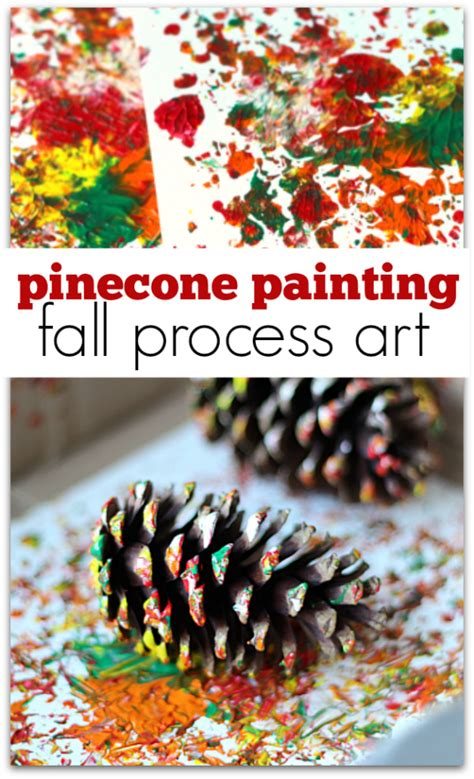 pinecone painting process no time for flash cards 978 | Pinecone painting fall process art for preschool from No Time For Flash Cards