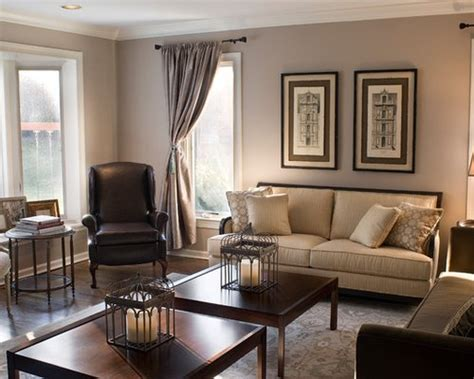 traditional chocolate brown and tan living room