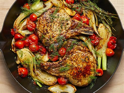 pan seared pork chops with roasted fennel and tomatoes recipe myrecipes