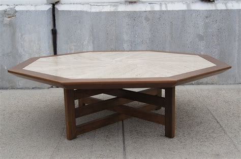 Walnut And Travertine Coffee Table By Harvey Probber At