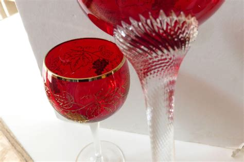 vintage bohemian moser crystal czech moser ruby red wine