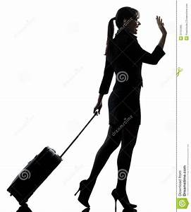 Business Woman Traveling Saluting Silhouette Royalty Free ...