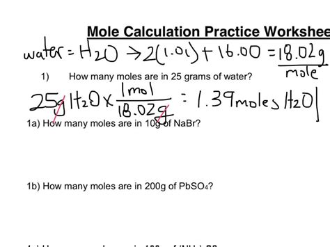 Mole Calculation Worksheet Part 1 Youtube