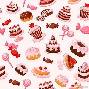 4-Designer | Cartoon Dessert background 01 vector material