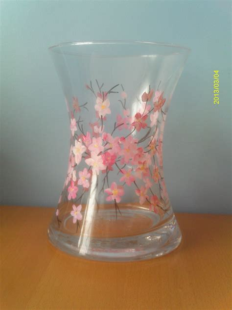 glass painting flower vase painted glass reemade