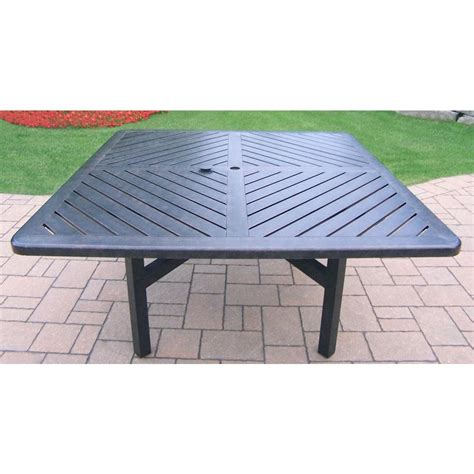 oakland living vanguard aluminum square patio dining table