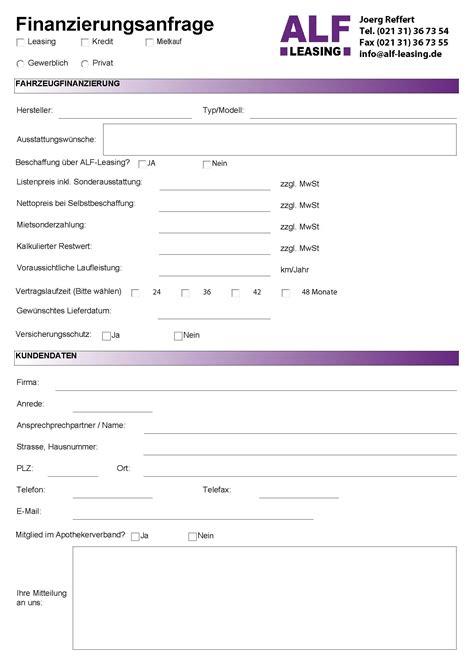 Formular Kostenlos by Leasing Anfrage Alf Leasingalf Leasing
