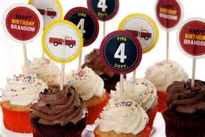 Fire Truck Cupcake Toppers Printable