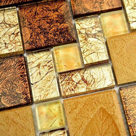brown golden glass mosaic tiles  wall tiles tv