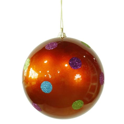 vickerman 28505 5 5 quot orange candy polka dot ball