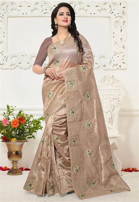embroidered organza saree  light beige spfa