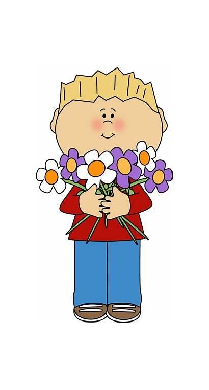 Flowers Flower Bunch Boy Clipart Holding Clip