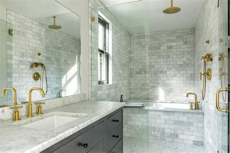 gold  gray bathroom features  large seamless glass