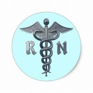 Registered Nurse Symbol Classic Round Sticker   Zazzle