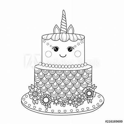 Unicorn Coloring Cake Printable Unicorns Cakes Adult