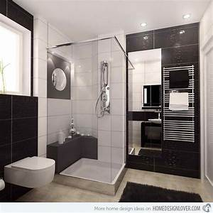 20 sleek ideas for modern black and white bathrooms for Black and white modern bathroom