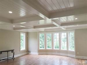 Coffered, Ceiling, With, V-groove